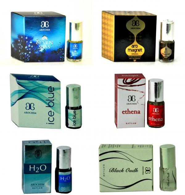 Arochem H2O Magnet IceBlue SevenSeas BlackOudh Ethena Floral Attar(Musk Arabia)