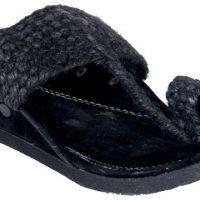 Panahi Black Jute Velvet Slip On Kolhapuris Casuals