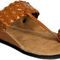 Panahi Brown Colour Synthetic Leather Men Ethnic Wear Slip On Kolhapuris Party Wear(Brown)