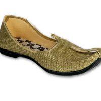 Panahi Gold Colour Fabric Men Ethnic Wear Slip On Jutis Party Wear(Gold)