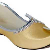 Panahi Gold Shimir Fabric Slip On Jutis Casuals